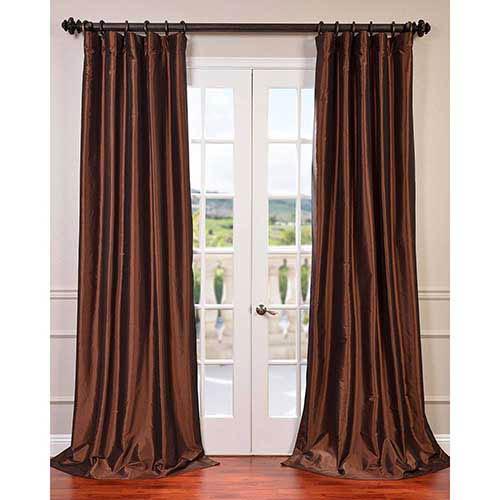 Half Price Drapes Copper Brown 84 x 50-Inch Blackout Faux Silk Taffeta Curtain Single Panel