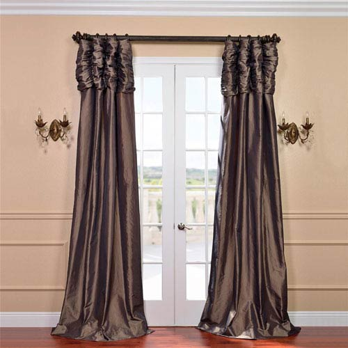 Ruched Mushroom 84 x 50-Inch Faux Silk Taffeta Curtain Single Panel
