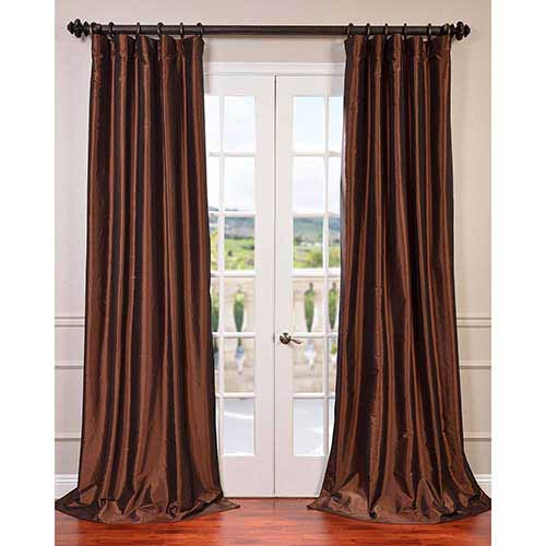 Half Price Drapes Copper Brown 108 x 50-Inch Blackout Faux Silk Taffeta Curtain Single Panel
