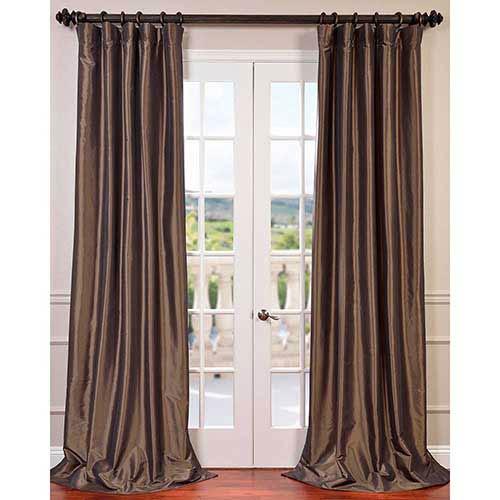 Half Price Drapes Mushroom Brown 96 x 50-Inch Blackout Faux Silk Taffeta Curtain Single Panel