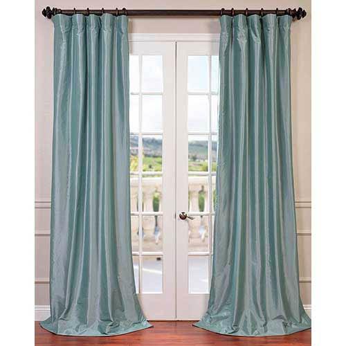 Half Price Drapes Robins Egg Blue 108 x 50-Inch Blackout Faux Silk Taffeta Curtain Single Panel