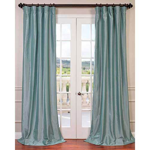 Robins Egg Blue 96 x 50-Inch Blackout Faux Silk Taffeta Curtain Single Panel