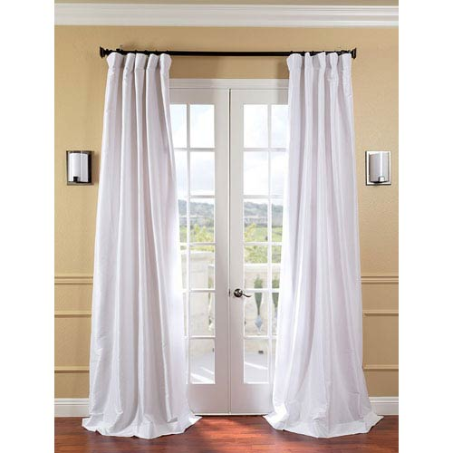 Half Price Drapes White Faux Silk Taffeta Single Panel Curtain, 50 X 96