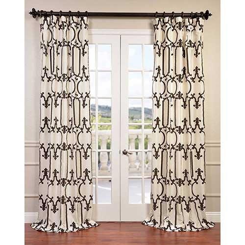 Half Price Drapes Royal Gate Ivory 96 x 50-Inch Curtain Single Panel
