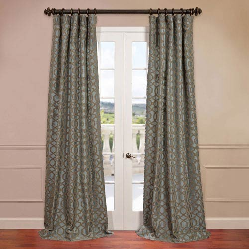 Half Price Drapes Filigree Blue 50 x 96-Inch Flocked Curtain