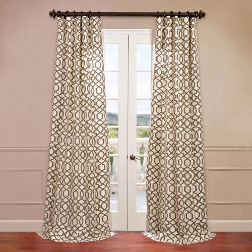 Half Price Drapes Filigree Ivory 50 x 96-Inch Flocked Curtain