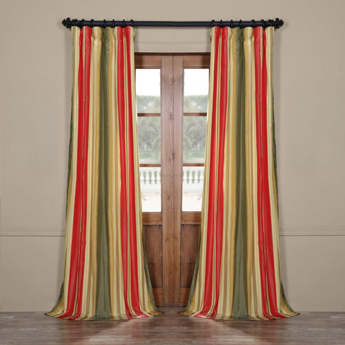 Half Price Drapes Orleans Multi 50 x 84-Inch Taffeta Stripe Curtain