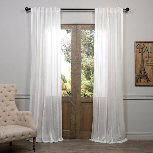Antigua Off White Striped Sheer Curtain Sample Swatch