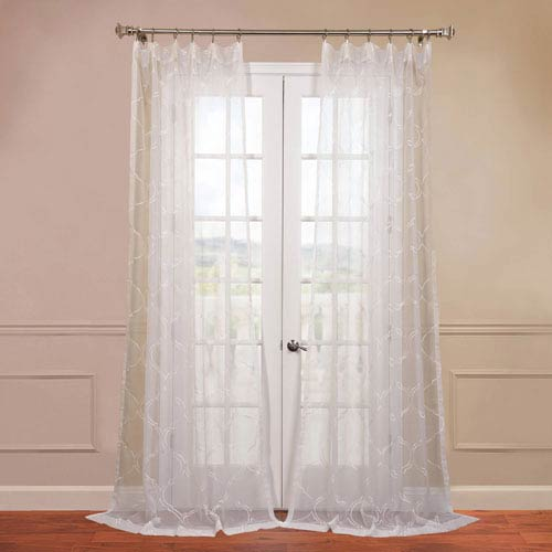 Half Price Drapes Florentina White 50 x 84-Inch Sheer Curtain