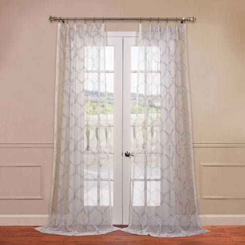 Half Price Drapes Florentina White 50 x 108-Inch Embroidered Sheer Curtain