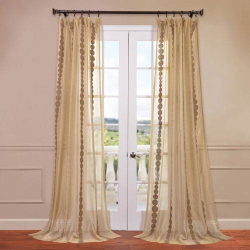 Half Price Drapes Cleopatra Gold 50 x 120-Inch Embroidered Sheer Curtain