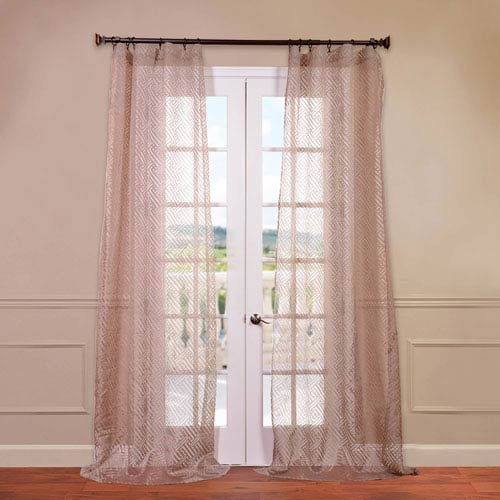 Half Price Drapes Zara Taupe 50 x 108-Inch Patterned Sheer Curtain