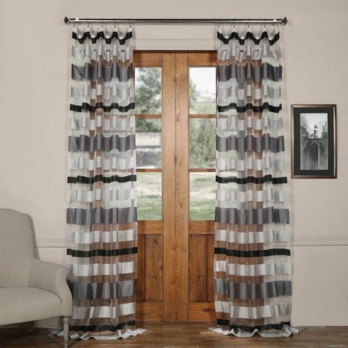 Half Price Drapes Cloudburst Grey Silk Organza 50 x 96-Inch Sheer Curtain