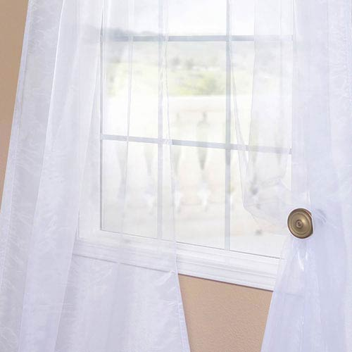 Half Price Drapes Organza White 50 x 120-Inch Sheer Curtain Pair 2 Panel