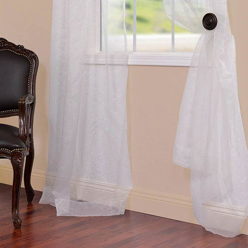 Half Price Drapes Organza Off White 50 x 84-Inch Sheer Curtain Pair 2 Panel