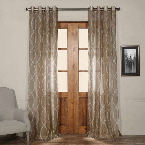 Half Price Drapes Grecian Taupe Grommet Printed 50 X 120 Inch Sheer Curtain