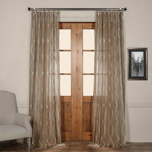 Half Price Drapes Grecian Taupe Printed Sheer Curtain -SAMPLE SWATCH ONLY