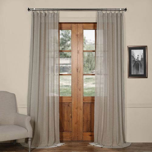 Half Price D Paris Grey Solid Faux Linen 50 X 108 Inch Sheer Curtain