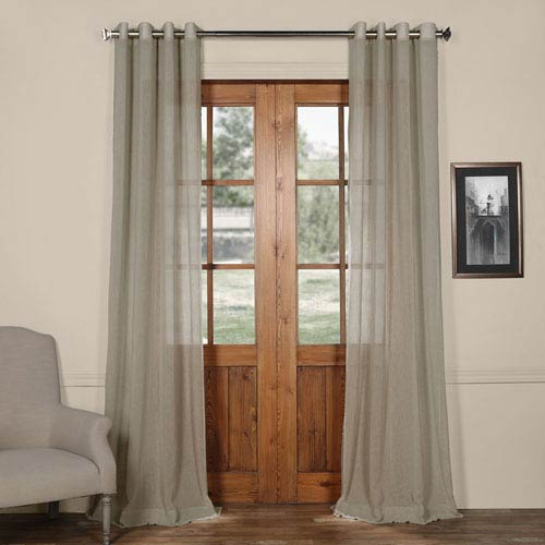 Paris Grey Grommet Solid Faux Linen 50 x 84-Inch Sheer Curtain