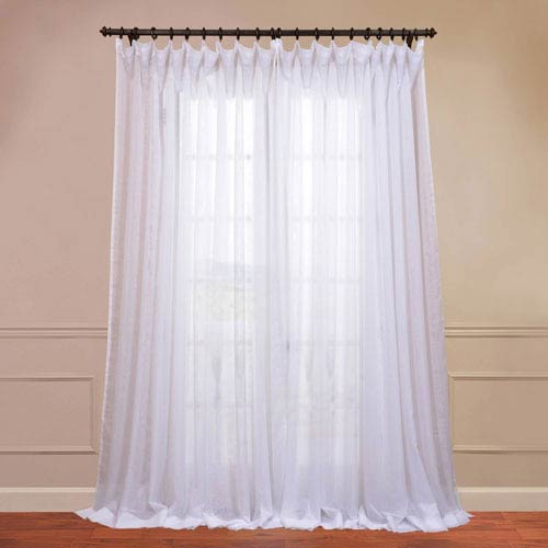 Half Price Drapes Doublewide Solid White 100 x 120-Inch Sheer Curtain