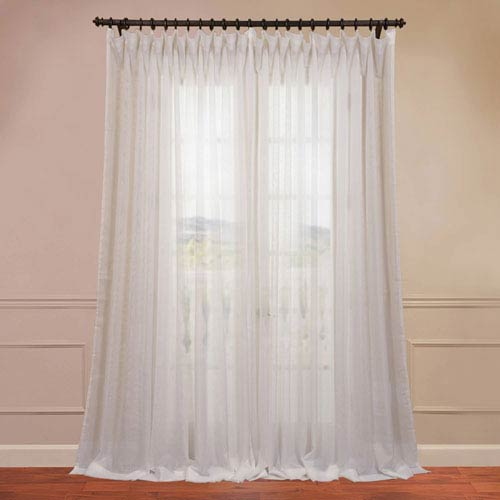 Half Price Drapes Doublewide Solid Off White 100 x 108-Inch Sheer Curtain