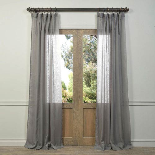 Grey Voile Poly Sheer Curtain Sample Swatch