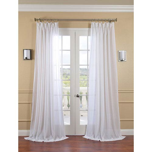 Half Price Drapes White Orchid Faux Linen Sheer Single Panel Curtain Panel, 50 X 120