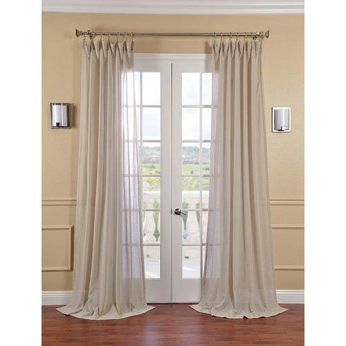Half Price Drapes Tumbleweed Faux Linen Sheer Single Panel Curtain Panel, 50 X 84