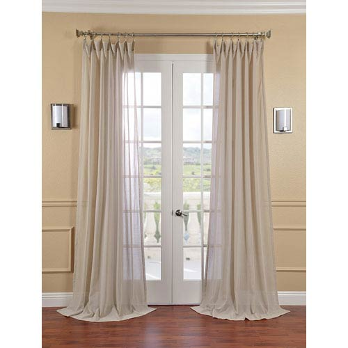 Half Price Drapes Tumbleweed Faux Linen Sheer Single Panel Curtain Panel, 50 X 96