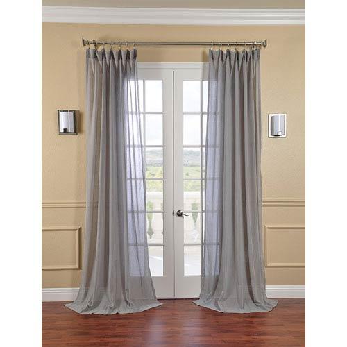 Half Price Drapes Nickel Faux Linen Sheer Single Panel Curtain Panel, 50 X 108