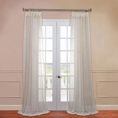 Half Price Drapes Open Weave Cream 50 x 120-Inch Linen Sheer Curtain