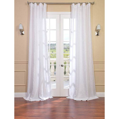 Signature Purity White French Linen Sheer Single Panel Curtain Panel, 50 X 96