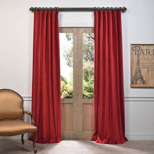Red 108 x 50-Inch Vintage Cotton Velvet Curtain Single Panel