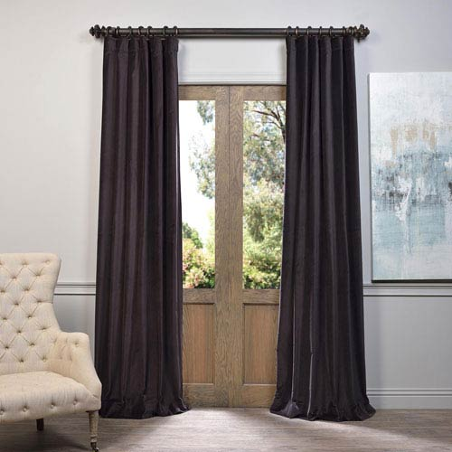 Half Price Drapes Brown 84 x 50-Inch Vintage Cotton Velvet Curtain Single Panel