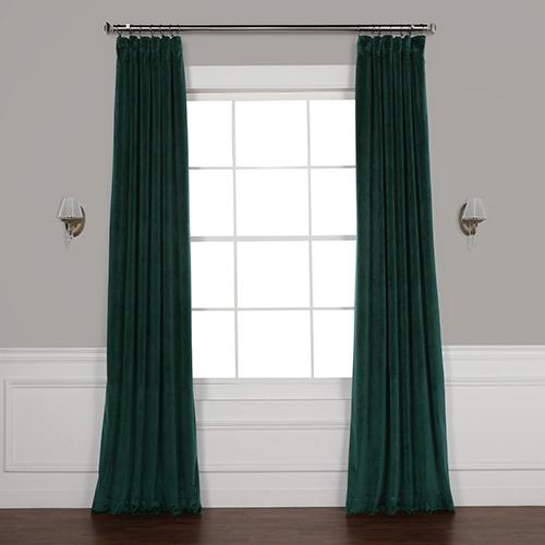 Forest Green 108 x 50 In. Plush Velvet Curtain Single Panel