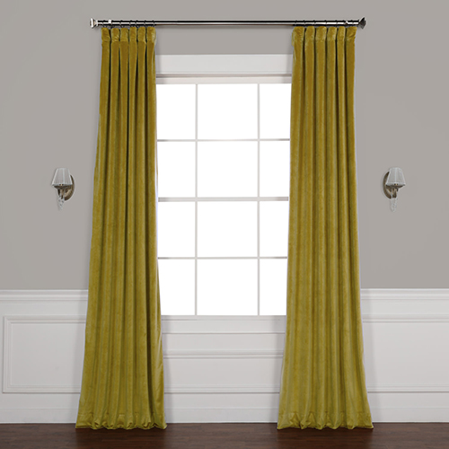 Pea Green 84 x 50 In. Plush Velvet Curtain Single Panel