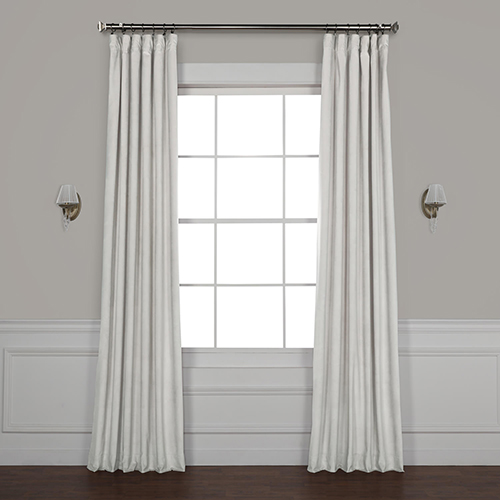 Rose Street Cloud Grey 108 x 50 In. Plush Velvet Curtain Single Panel