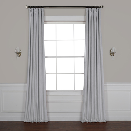 Rose Street Ice Grey 96 x 50 In. Plush Velvet Curtain Single Panel