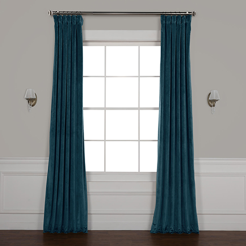 Deep Water Teal 96 x 50 In. Plush Velvet Curtain Single Panel