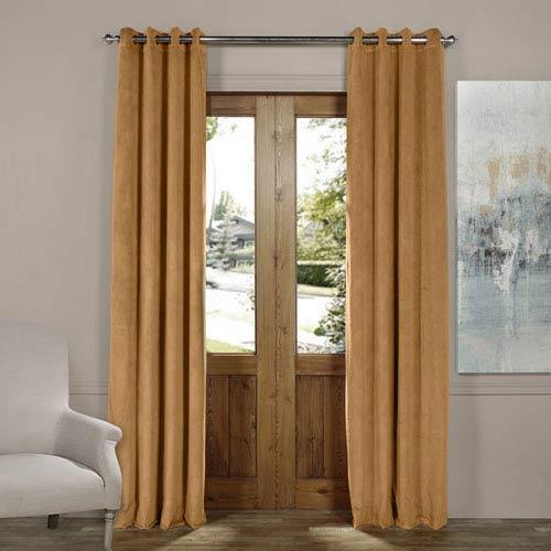 Amber Gold 84 x 50-Inch Grommet Blackout Velvet Curtain