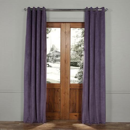 Half Price Drapes Fresh Violet Grommet Blackout Velvet Curtain Sample Swatch