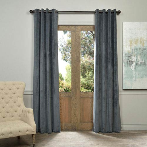 Half Price Drapes Signature Grommet Grey 84-Inch Blackout Curtain