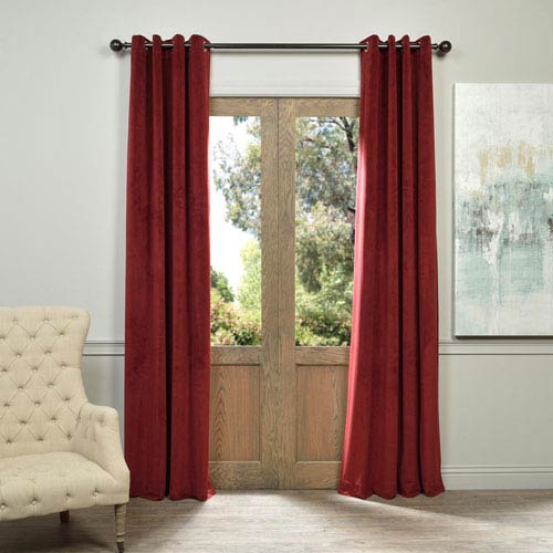 Half Price Drapes Signature Grommet Red 50 x 120-Inch Blackout Curtain