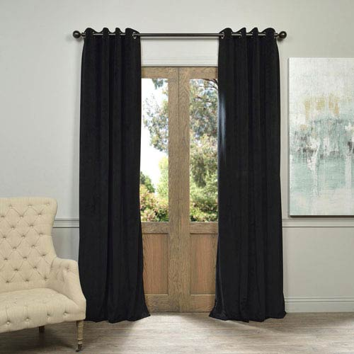 Half Price Drapes Signature Grommet Black 50 X 96 Inch Blackout Curtain