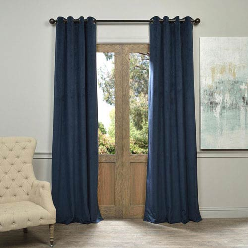 Half Price Drapes Signature Grommet Blue 50 x 120-Inch Blackout Curtain