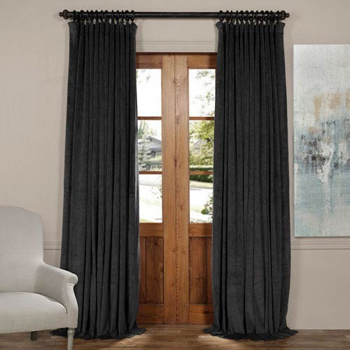 Half Price D Gunmetal Gray 120 X 100 Inch Doublewide Blackout Velvet Curtain