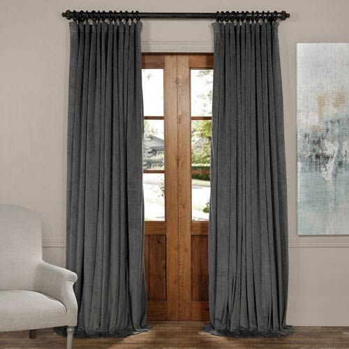 Half Price Drapes Natural Gray 84 x 100-Inch Doublewide Blackout Velvet Curtain
