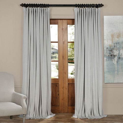 Reflection Gray 120 x 100-Inch Doublewide Blackout Velvet Curtain