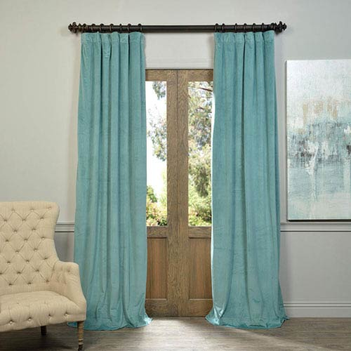Half Price Drapes Signature Aqua Mist 120 x 50-Inch Blackout Curtain Single Panel