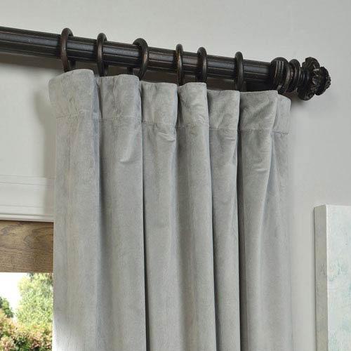 Half Price Drapes Signature Silver Grey Blackout Velvet Pole Pocket Single Panel Curtain, 50 X 120